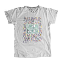 "Load image into Gallery viewer, Platinum gray unisex t-shirt with the phrase ""Women with Warren"" outlined by 24 women's faces in yellow, purple, orange, and liberty green. ""Women with Warren"" is written in liberty green."