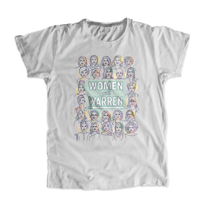 "Platinum gray unisex t-shirt with the phrase ""Women with Warren"" outlined by 24 women's faces in yellow, purple, orange, and liberty green. ""Women with Warren"" is written in liberty green. (3987847970925)"