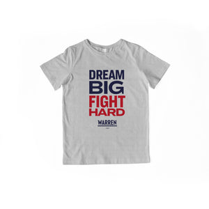 Dream Big, Fight Hard gray youth t-shirt with navy and red type.  (1518924136557)