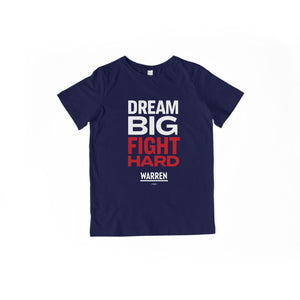 Dream Big, Fight Hard navy youth t-shirt with white and red type. (1518924136557)