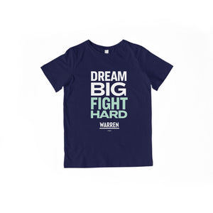 Dream Big, Fight Hard navy youth t-shirt with white and liberty green type. (1518924136557)