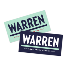 Load image into Gallery viewer, Two rectangular magnetic bumper stickers with the WARREN logo, one in liberty green with the Navy logo and red URL and one in navy with the white and liberty green logo and the white URL beneath
