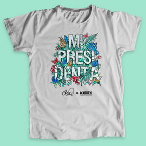 Mi Presidenta with colorful flowers and grass on gray Unisex T-Shirt. (4501641724013)