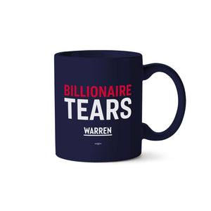 Navy billionaire tears mug with red and white text.