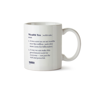 Mug with a definition of the wealth tax in the style of a dictionary definition in navy (6605604552893)