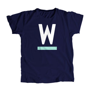 "Warren ""W"" Minimalist Unisex T-Shirt in Navy and White."