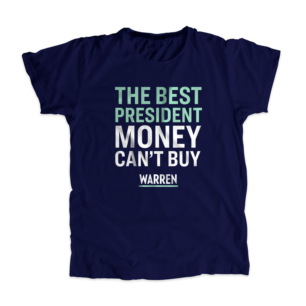 The Best President Money Can't Buy Navy Unisex T-shirt with liberty green and white type. (1534207590509)
