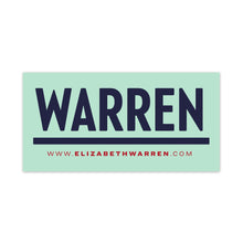 Load image into Gallery viewer, Navy rectangular car magnet with WARREN logo in navy and red URL beneath the logo.