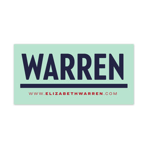Rectangular bumper sticker with WARREN logo in navy and www.elizabethwarren.com in red (3928571215981)