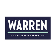 Load image into Gallery viewer, Navy rectangular car magnet with WARREN logo in white with liberty green underline and white URL beneath the logo