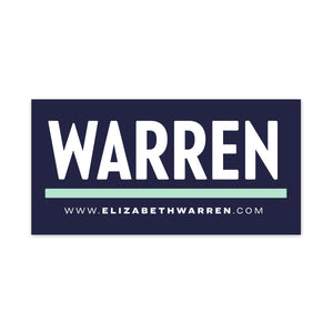 Navy rectangular car magnet with WARREN logo in white with liberty green underline and white URL beneath the logo