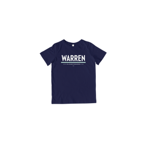 Warren Navy Toddler T-Shirt with white and liberty green lettering.  (4473971409005)