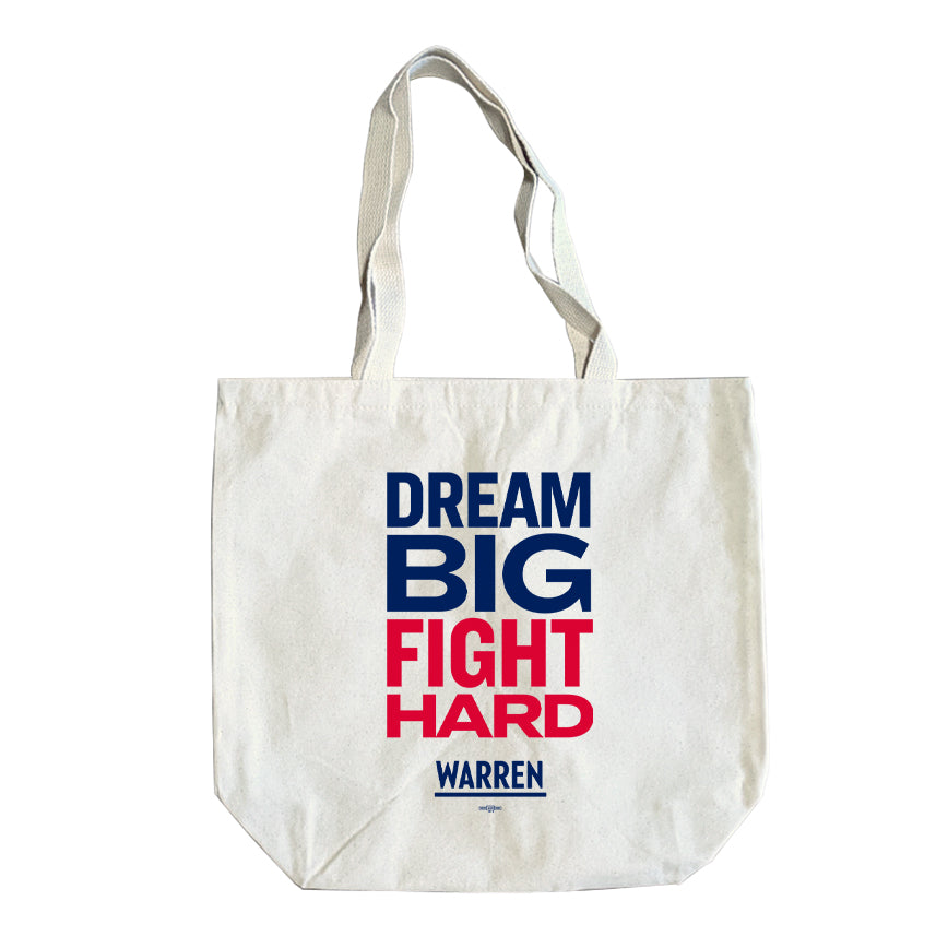 Natural colored tote with the words, dream big fight hard, stacked.