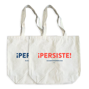 Two natural colored totes with the word PERSISTE in and ELIZABETHWARREN.COM written beneath.