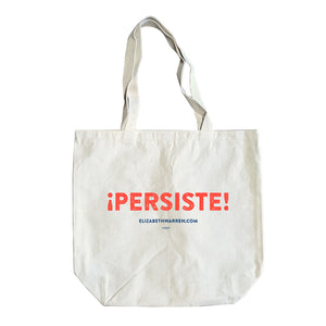 Natural colored tote with the word PERSISTE in red and ELIZABETHWARREN.COM written in blue beneath.