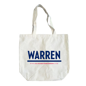Natural colored tote with the WARREN logo in navy.
