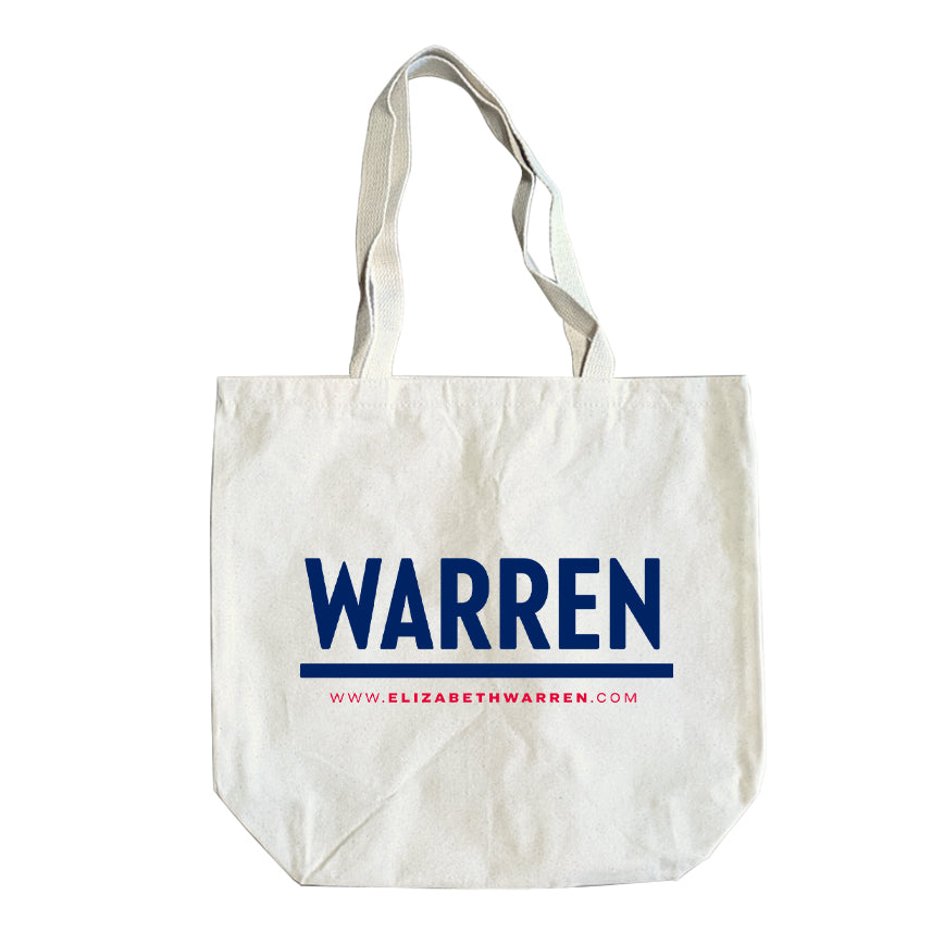 Natural colored tote with the WARREN logo in navy. (1506797355117)