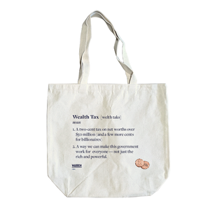 Canvas tote bag with a definition of the wealth tax in the style of a dictionary definition in navy (6605621166269)