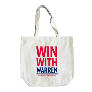 Natural colored tote with the phrase WIN WITH WARREN in red and navy.