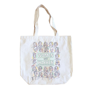 "Natural colored tote with the phrase ""Women with Warren"" outlined by 24 women's faces in yellow, purple, orange, and liberty green. ""Women with Warren"" is written in liberty green."