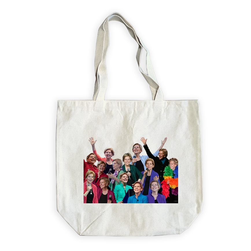 Canvas tote with collage of photos of Elizabeth Warren wearing different color cardigans (6605610909885)