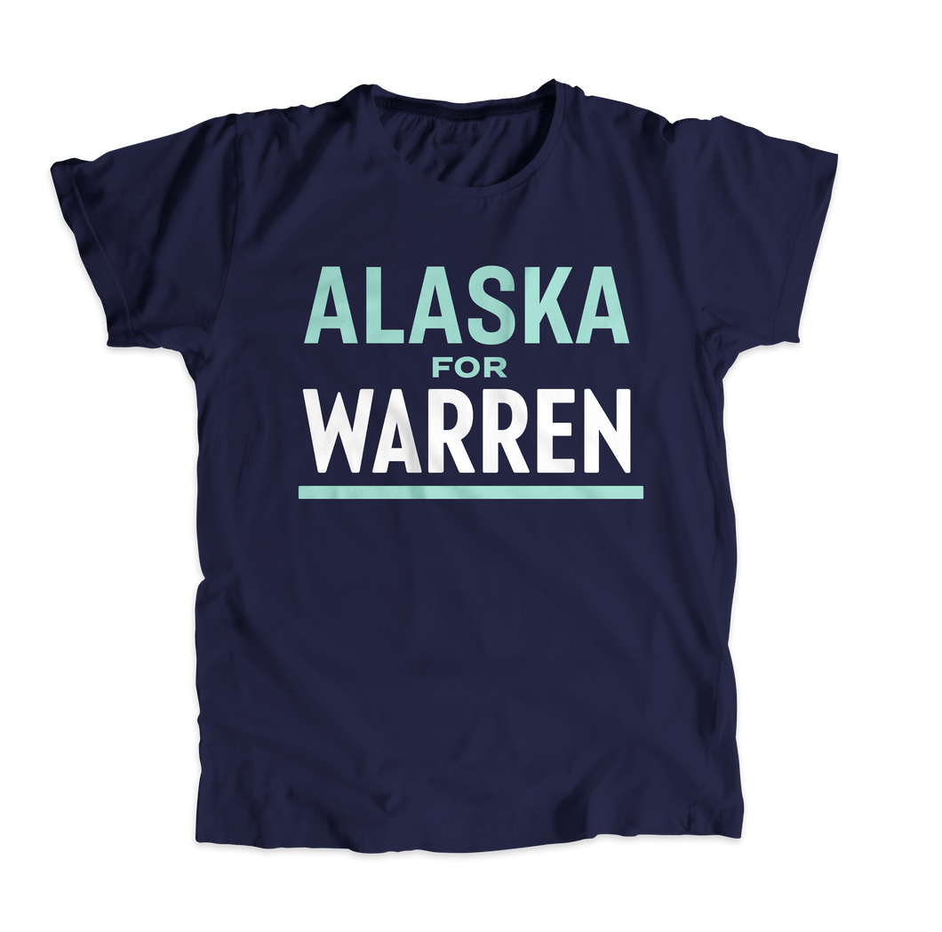 Alaska For Warren Navy Unisex T-shirt with liberty green and white text. (4509875470445)