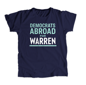 Democrats Abroad for Warren Navy Unisex T-Shirt with Liberty Green and White text. (4515650830445)