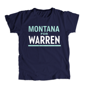 Montana For Warren Navy Unisex T-shirt with liberty green and white text. (4510054875245)