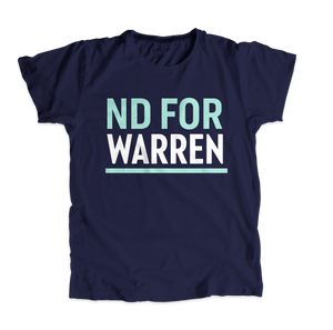 North Dakota For Warren Navy Unisex T-shirt with liberty green and white text. (4510078074989)