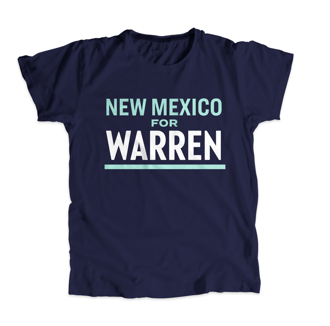 New Mexico For Warren Navy Unisex T-shirt with liberty green and white text. (4510075125869)