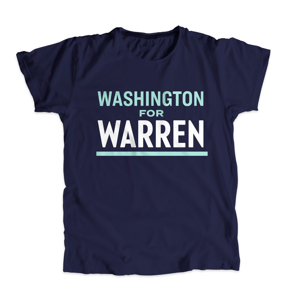 Washington For Warren Navy Unisex T-shirt with liberty green and white text. (4510901239917)