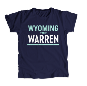 Wyoming For Warren Navy Unisex T-shirt with liberty green and white text. (4510907433069)