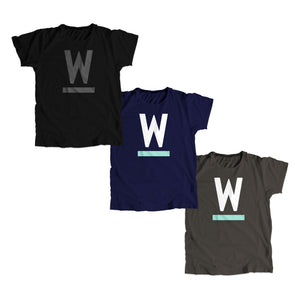 "Warren ""W"" Minimalist Unisex T-Shirt in three colors."
