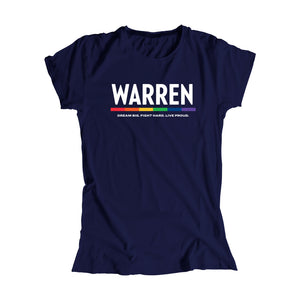 "Navy fitted t-shirt with the WARREN logo, WARREN is in white and the line beneath it is rainbow. Beneath the logo is a line of text that says ""dream big. fight hard. live proud"". (1666060877933)"