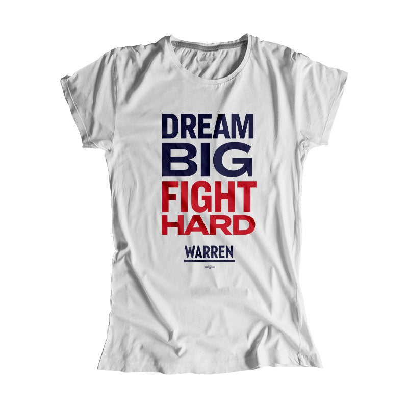 Gray Dream Big, Fight Hard Fitted T-shirt with Navy and Red type. (1518922530925)