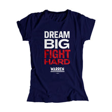 Load image into Gallery viewer, Navy Dream Big, Fight Hard Fitted T-Shirt with white and red type. (1518922530925)