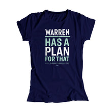 Load image into Gallery viewer, Warren has a plan for that fitted t-shirt in navy with white and liberty green type. (1623880433773)
