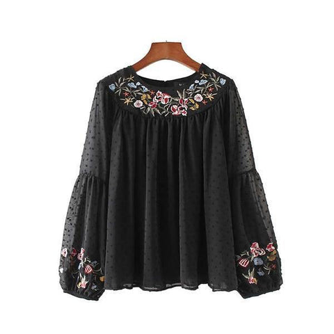 BOHO Floral Embroidered Chiffon Flared Sleeve Blouse Black / L