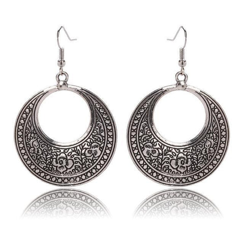 Boho Gypsy Floral Pattern Dangle Drop Earrings Antique Silver