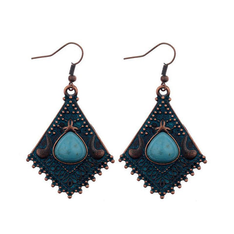Boho Nepal Glazed Stone Pendant Drop Earrings
