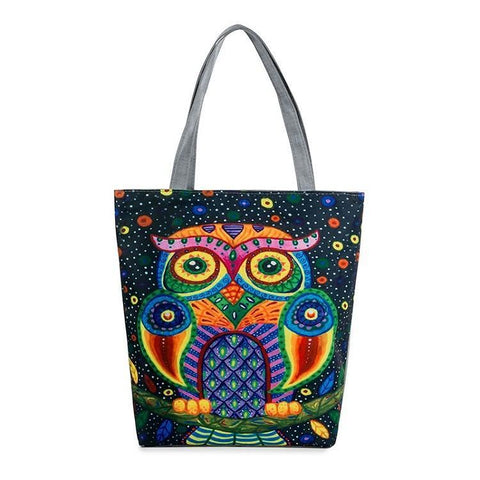 Colorful Owl Canvas Tote Bag