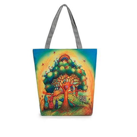 Colorful Tree of Life Canvas Tote Bag