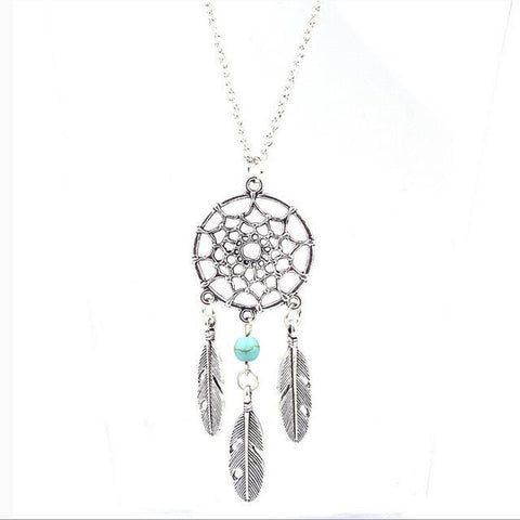 Dream Catcher Feather Pendant Turquoise Bead Necklace Single Bead