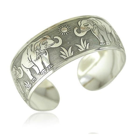 Elephant Cuff Antique Silver Plated Metal Bracelet