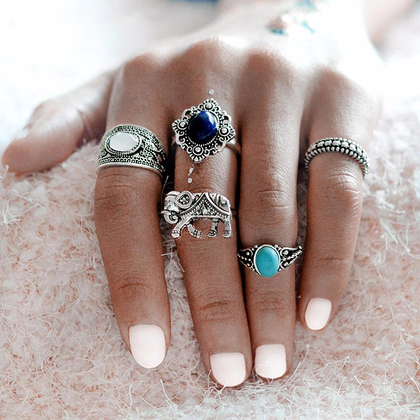 Five Piece Bohemian Style Elephant Blue Stone Silver Ring Set