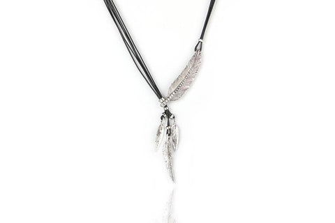 Four Feather Lovely Rope Necklace Silver