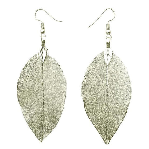 Leaf Pendant Earrings in Silver or Gold Silver