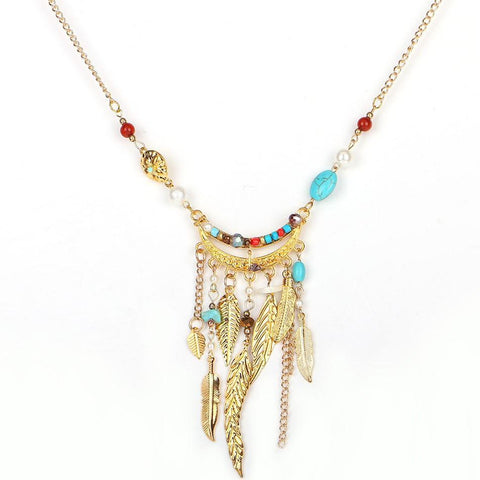Native American Feather Pendant Necklace