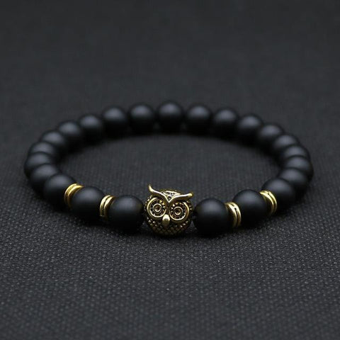 Owl Head Bracelet With Natural Black Lava Rock Stones Gold Color Matte
