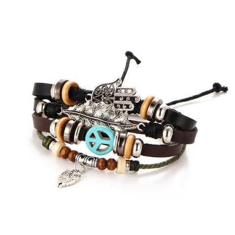 Peace Love and Owls Leather Bracelet Default Title